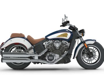 Indian Scout 2018 - Brilliant Blue over White met Red Pinstripe