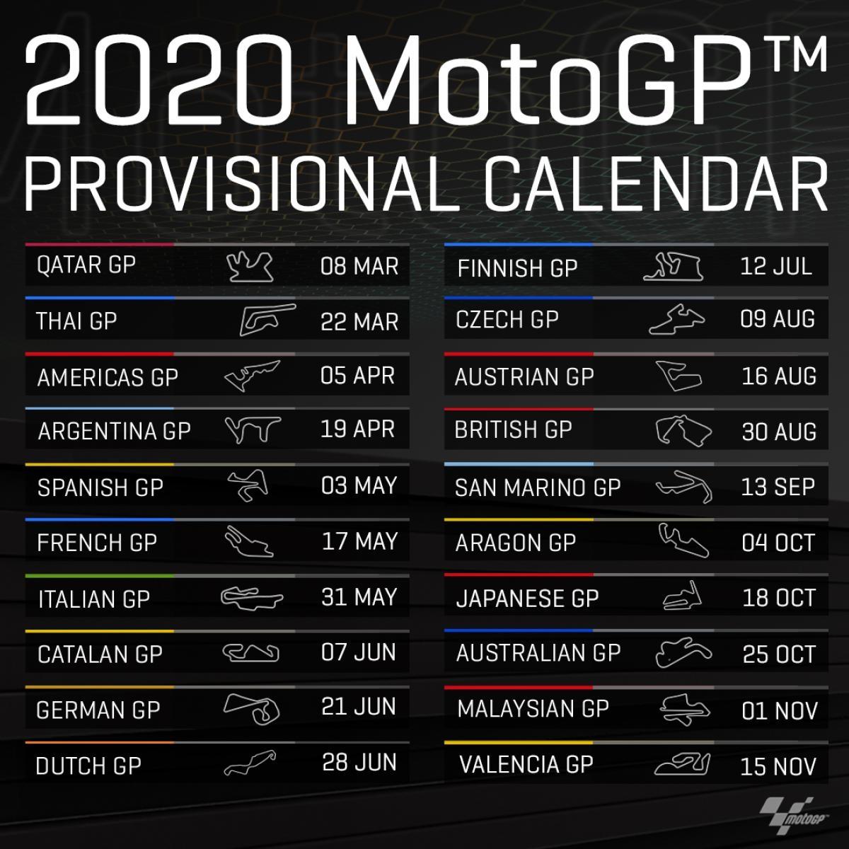 Calendrier Moto Gp 2020.Dit Is De Motogp Kalender Van 2020